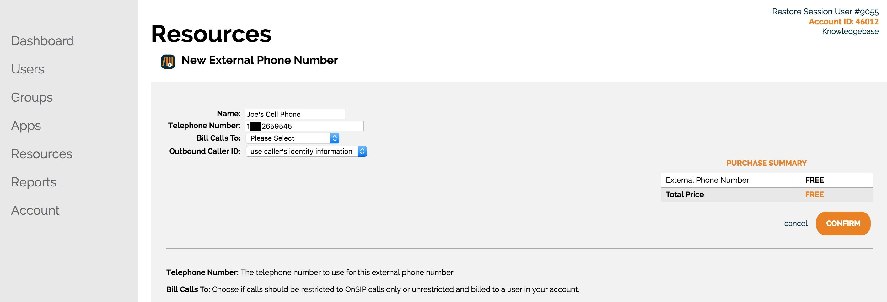 Enter your external phone number into the OnSIP Admin Portal, and give it a unique name.