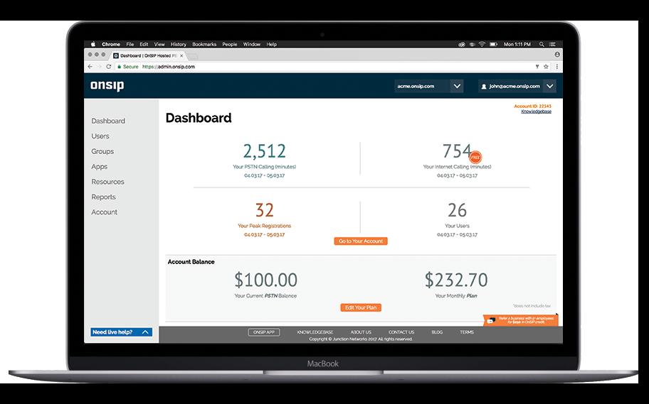 The main dashboard in the OnSIP Admin Portal