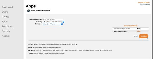 Creating an announcement in the OnSIP Admin Portal