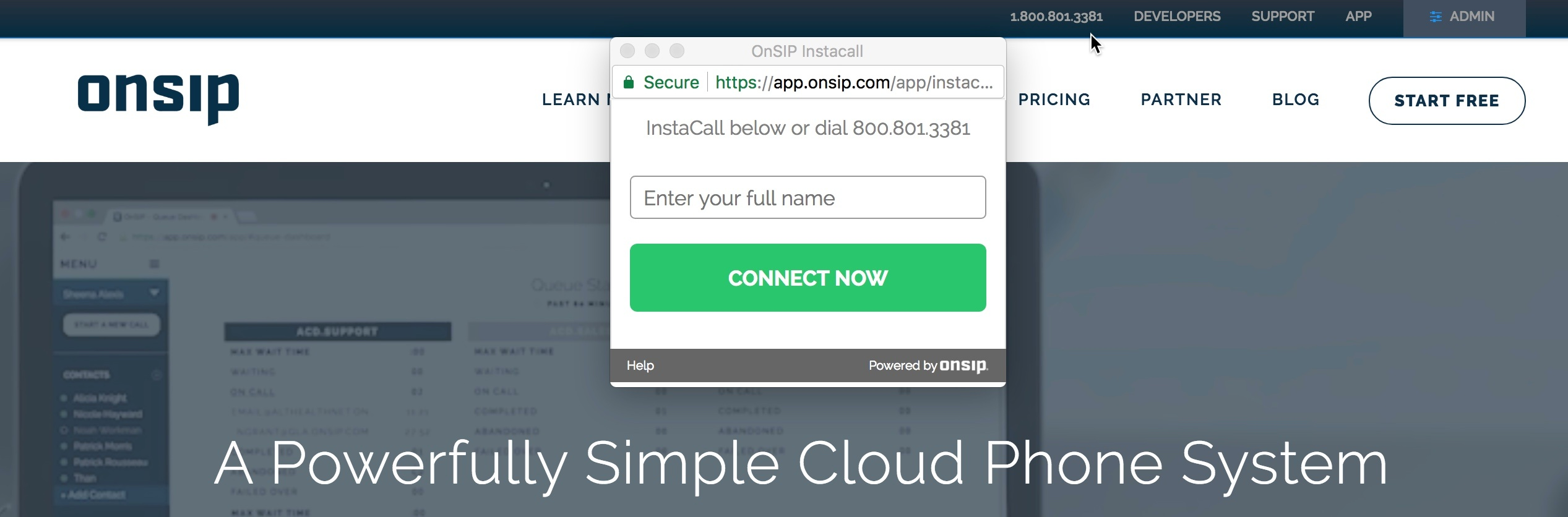 The OnSIP InstaCall button on OnSIP's homepage.