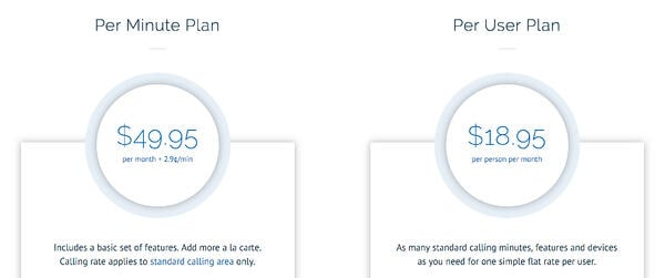 OnSIP's two paid pricing plans for UCaaS service.
