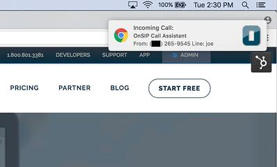 Chrome browser popup notifications for an incoming call.