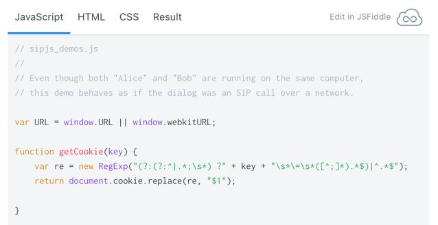 Snippet of SIP.js demo code