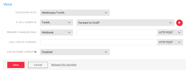Routing Calls from Twilio to OnSIP with a TwiML Bin