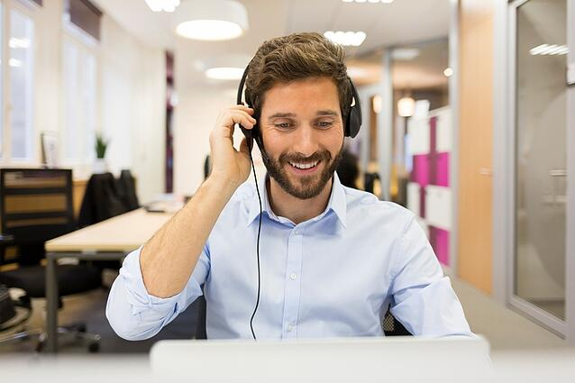 Talking on a headset with hosted VoIP