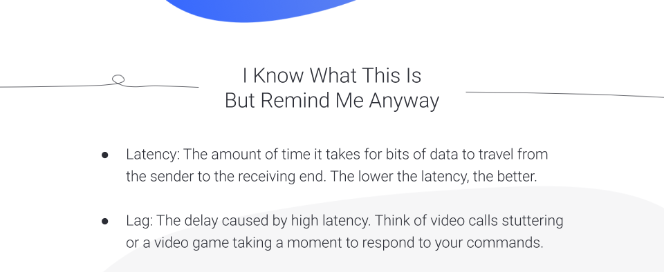 Graphic showing the definition of latency and lag.