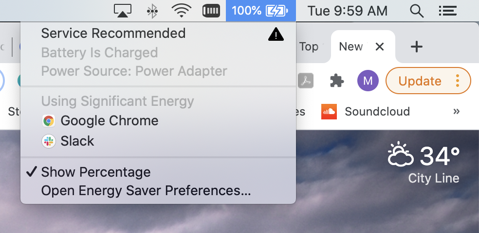 Screenshot of a Macbook toolbar with the battery icon selected.