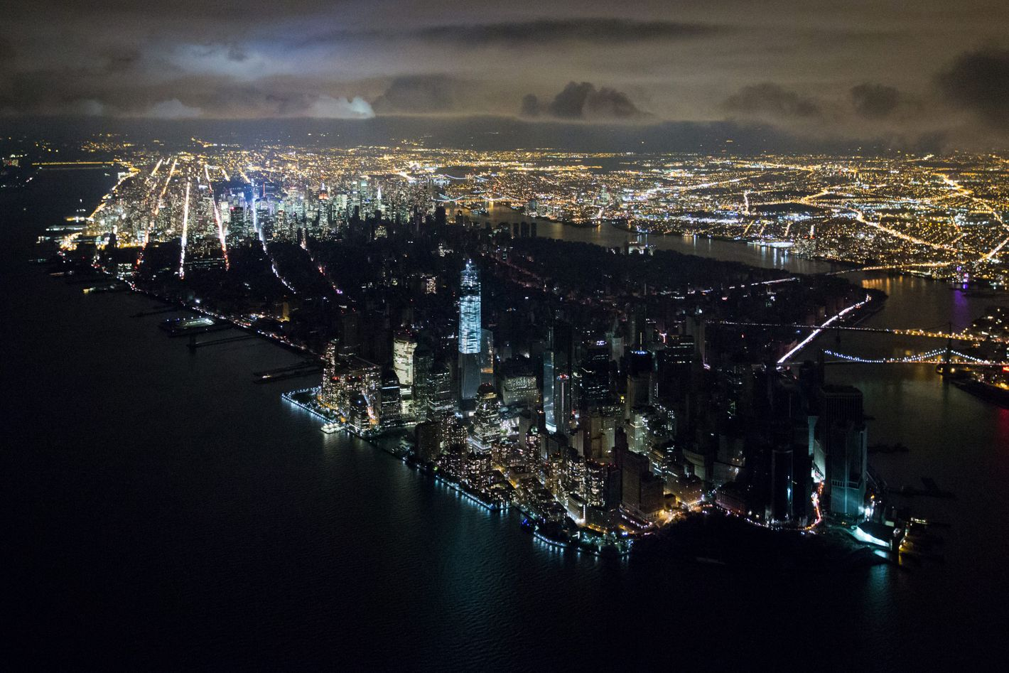 Photo showing Lower Manhattan without power after Hurricane Sandy.
