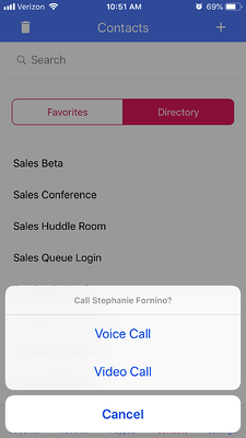 Voice and video calling in the OnSIP mobile app.