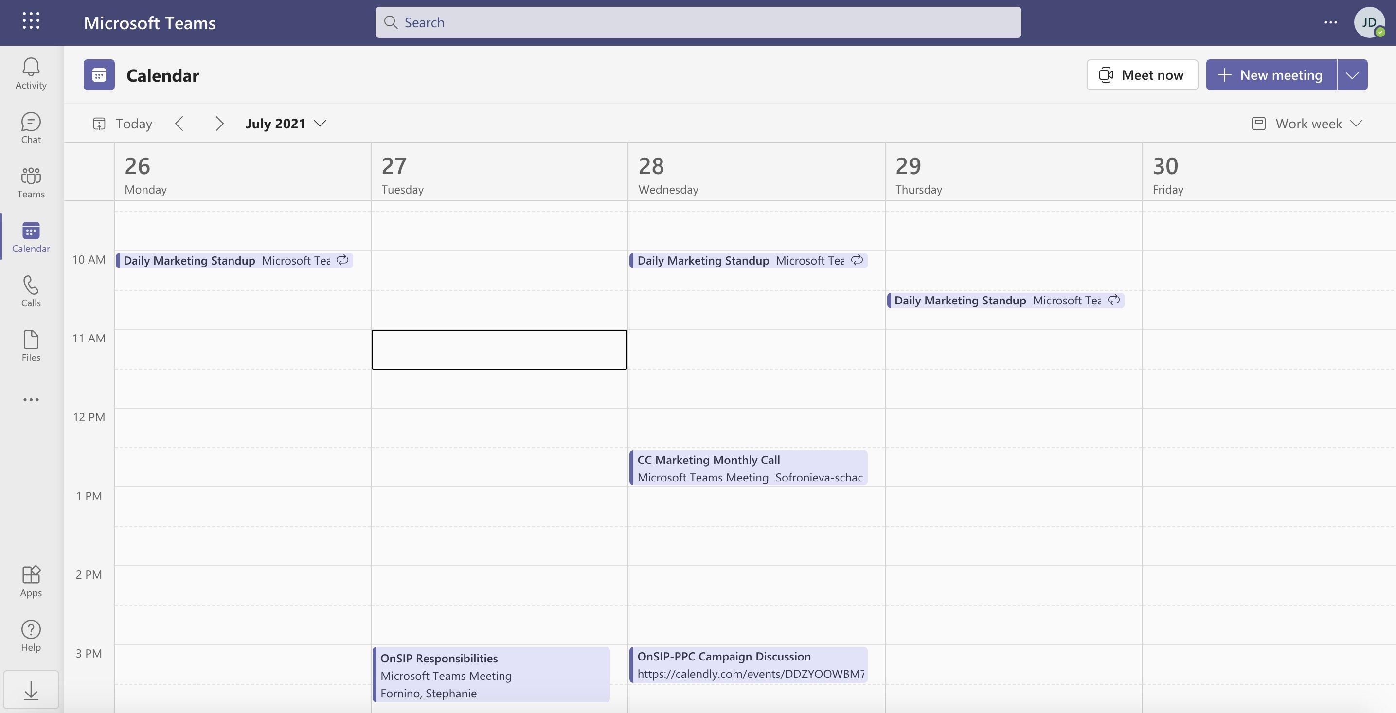 Calendar view in Microsoft Teams.