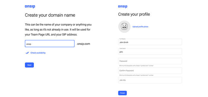Screenshot of OnSIP onboarding process for a new account.