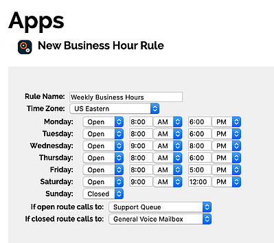 Screeenshot of OnSIP's Business Hour Rule set screen in the Admin Portal.