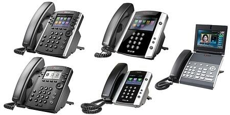 various models from the Polycom phone line