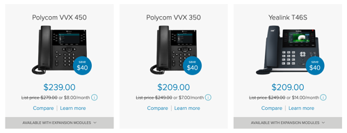 RingCentral sells Polycom, Cisco, and Yealink phones.
