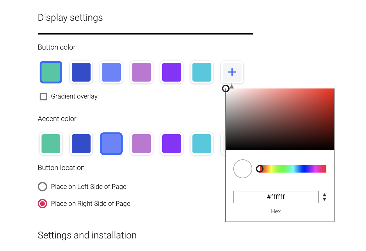 Screenshot of sayso display settings, including button and accent colors.