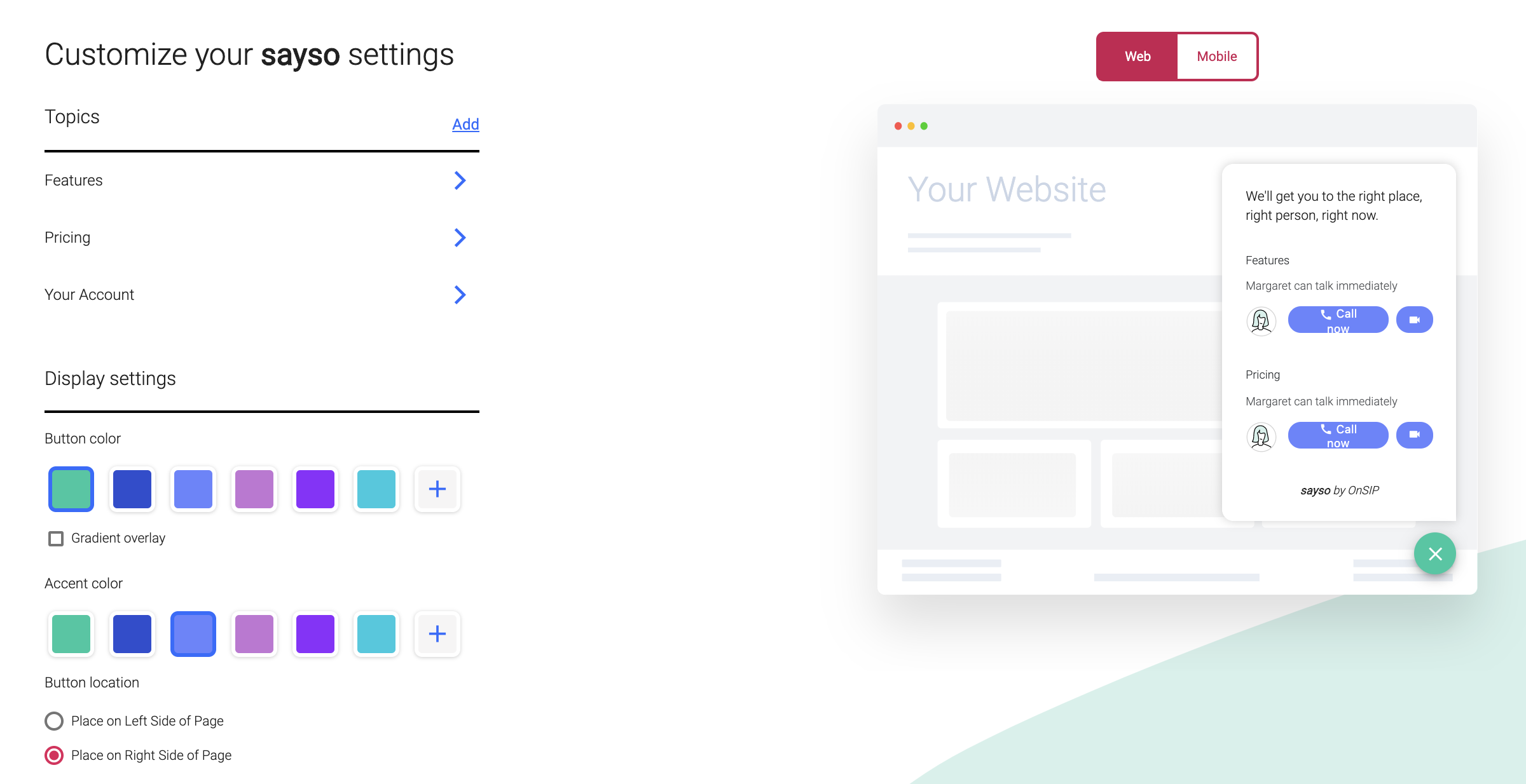 sayso settings screenshot showing customization options.
