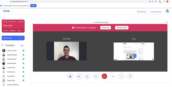 Screenshot of screenshare in progress in the OnSIP app