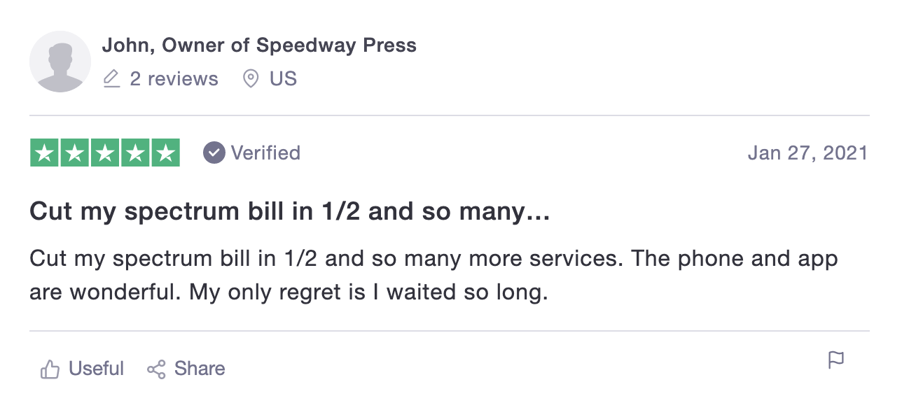 Screenshot of Trustpilot review of OnSIP.