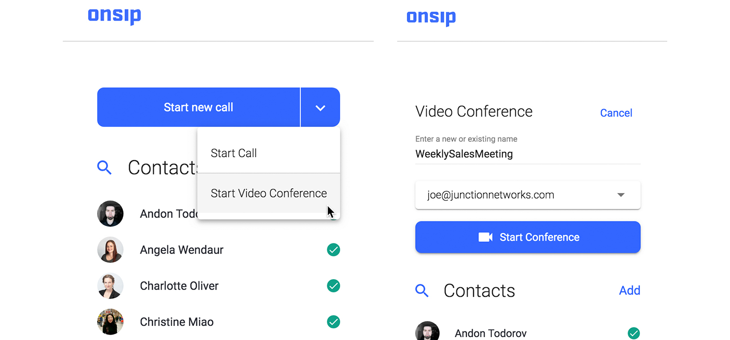 Screenshot showing how to start a video conference in the OnSIP app.