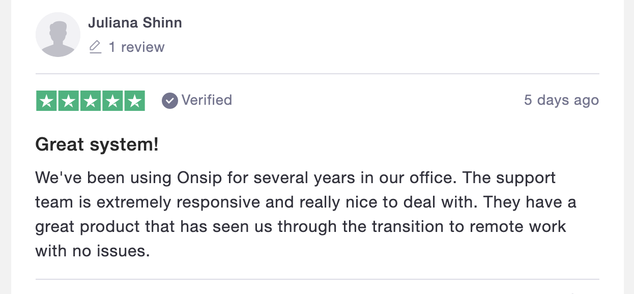 screenshot of an OnSIP Trustpilot review describing how it aided the shift to remote work in 2020.