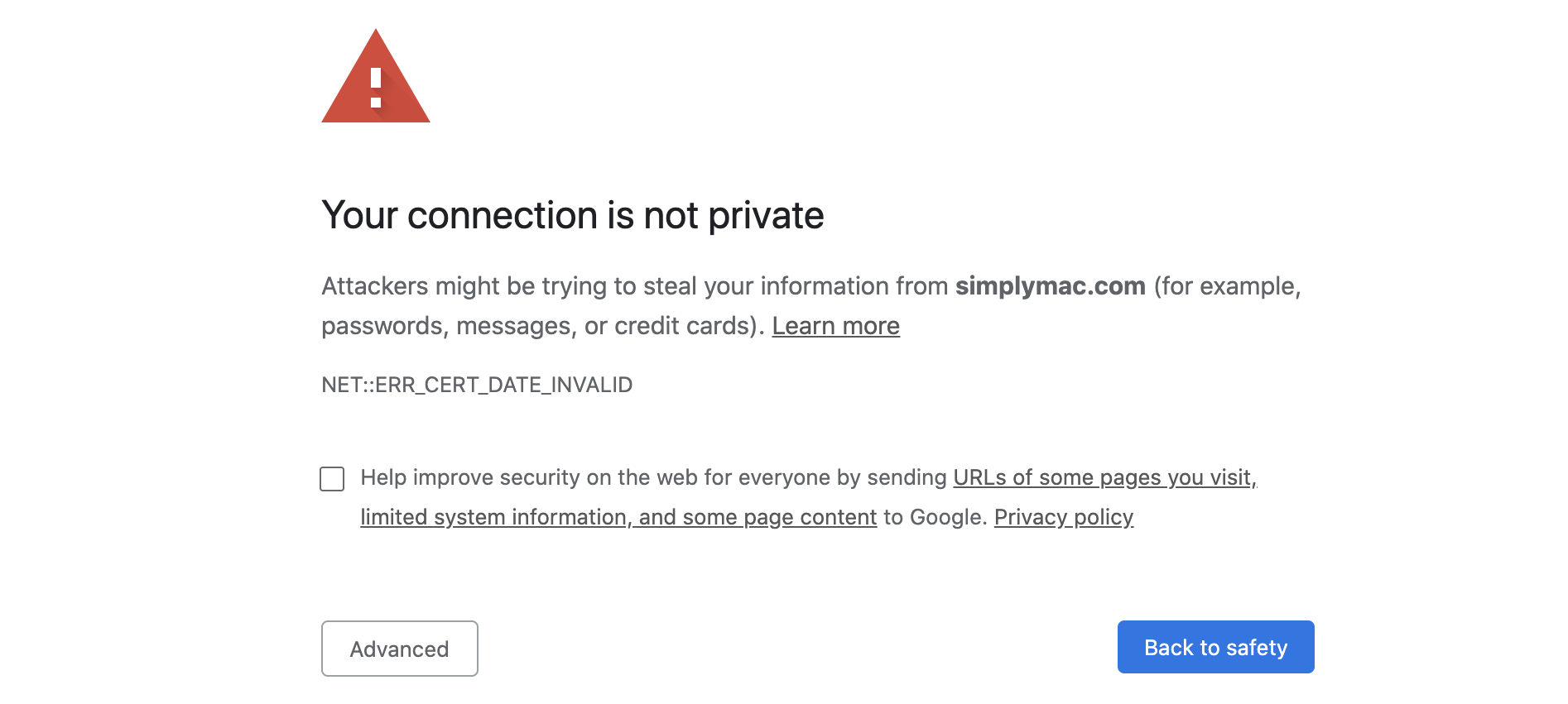 Browser warning that a website isn't secure.