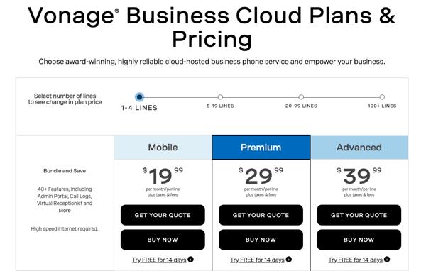 Vonage Business Cloud pricing plans