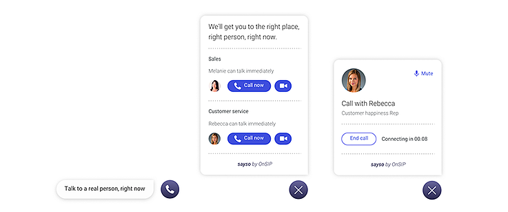 OnSIP sayso, the inbound chat solution offering voice and video.