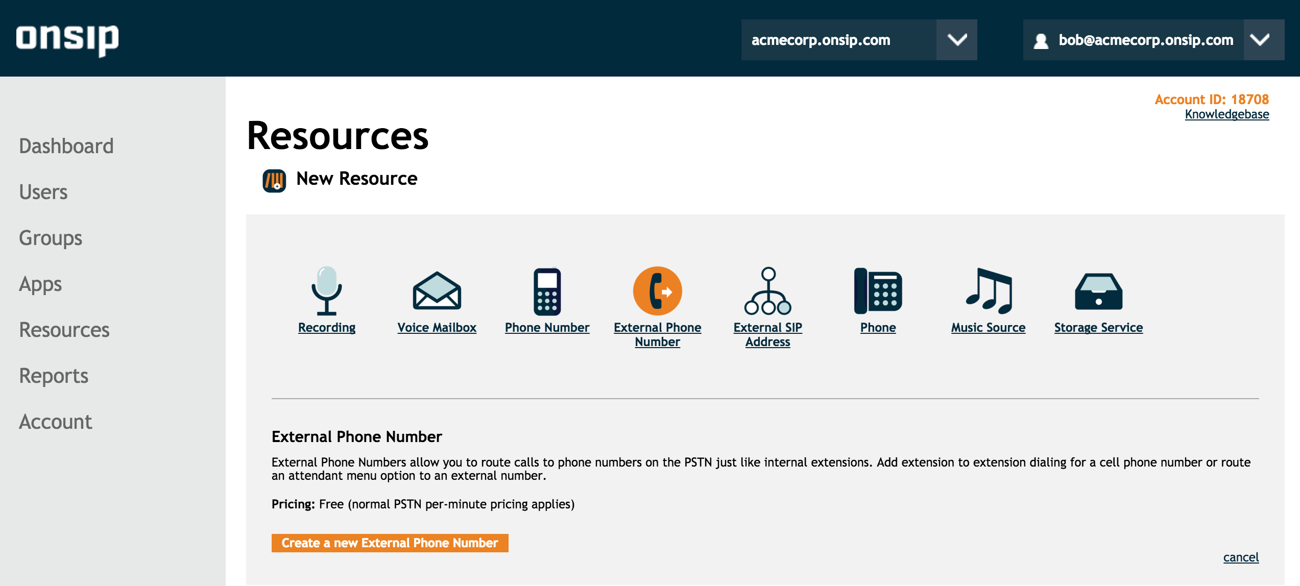 OnSIP Admin Portal