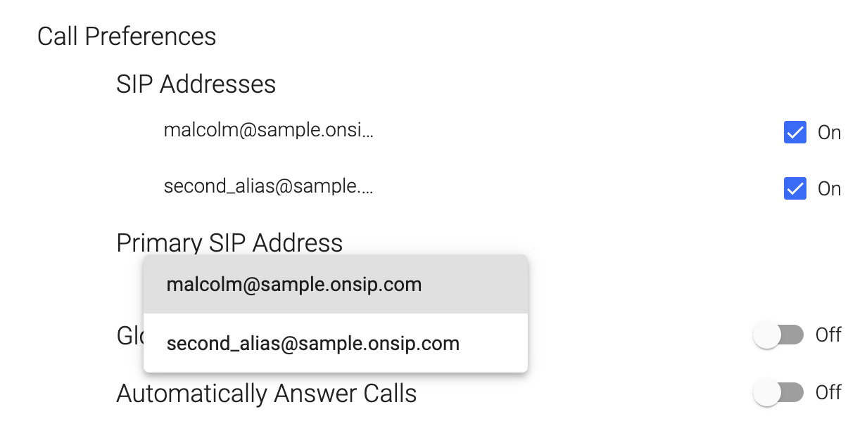 Customize your call preferences from the OnSIP app's Settings page.