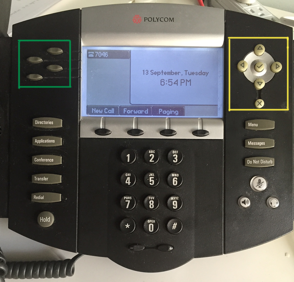 VoIP business line keys on a Polycom desk phone